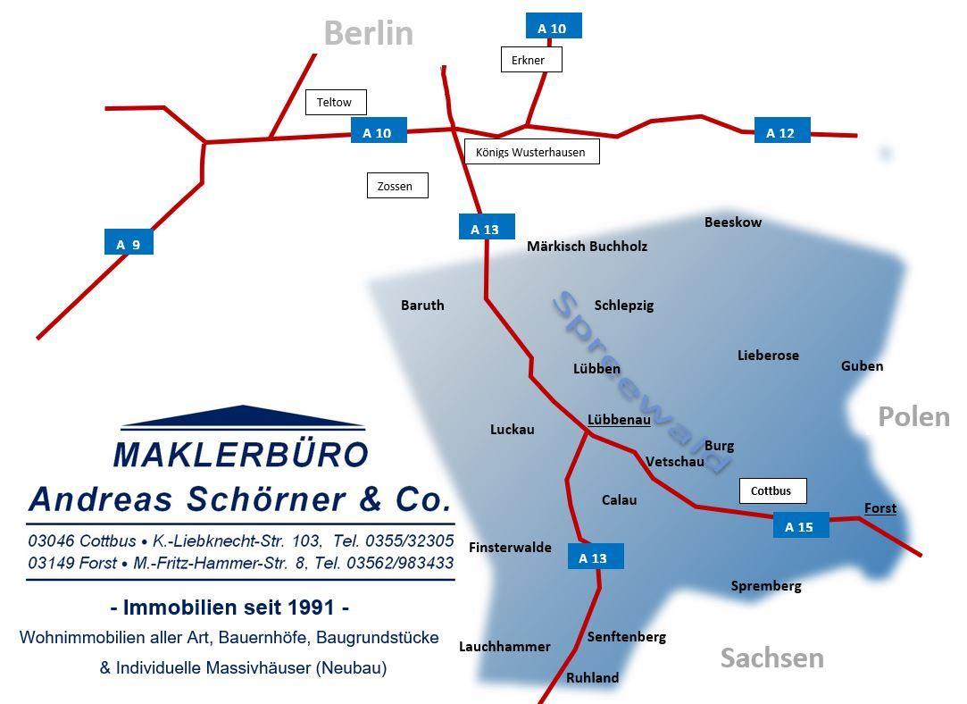 Karte Spreewald Lubbenau.Maklerburo Schorner Cottbus Forst Lubbenau Willkommen